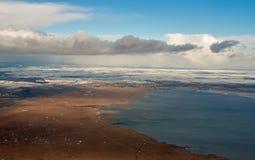 Vue aérienne d'hiver de Neusiedl de lac, Autriche, près de Vienne Image libre de droits