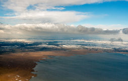 Vue aérienne d'hiver de Neusiedl de lac, Autriche, près de Vienne Image stock