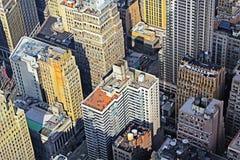 Vue aérienne d'horizon de Manhattan au coucher du soleil, New York City Image stock