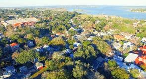 Vue aérienne d'horizon de St Augustine, la Floride photo libre de droits