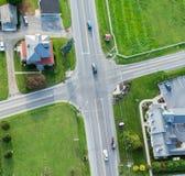 Vue aérienne d'intersection Image stock