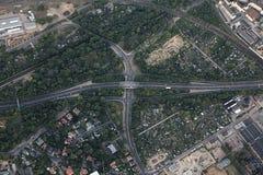 Vue aérienne d'intersection de route à Magdebourg Images libres de droits