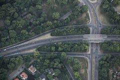 Vue aérienne d'intersection de route à Magdebourg Photos stock