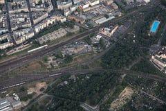 Vue aérienne d'intersection ferroviaire à Magdebourg Photo libre de droits