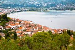 Vue aérienne d'Ohrid Images stock