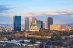Vue aérienne d'Osaka Castle Photos stock