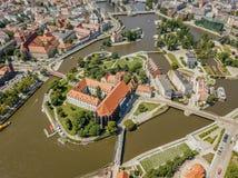 Vue aérienne d'Ostrow historique Tumski, Wroclaw, Pologne image libre de droits