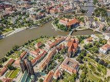 Vue aérienne d'Ostrow historique Tumski, Wroclaw, Pologne photo stock