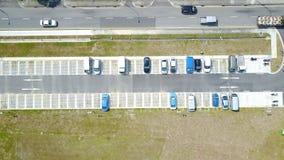 Vue aérienne d'un aire de stationnement de véhicule Photographie stock libre de droits