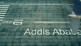 Vue aérienne d'un avion arrivant à l'aéroport d'Addis Ababa Voyage au rendu de l'Ethiopie 3D Photographie stock libre de droits