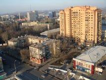 Vue aérienne d'un bâtiment moderne à Donetsk Images stock