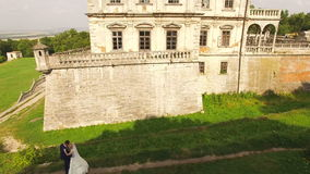 Vue aérienne d'un beau jeune couple au château 4K clips vidéos