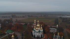 Vue aérienne d'un canot automobile dans le delta de Danube banque de vidéos
