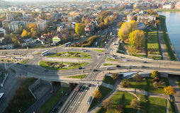 Vue aérienne d'un des secteurs au centre historique de Cracovie Image libre de droits
