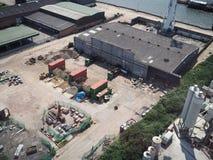 Vue aérienne d'un entrepôt de rive photographie stock libre de droits
