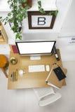 Vue aérienne d'un espace de travail créatif moderne. Photographie stock