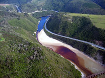 Vue aérienne d'un estuaire Photographie stock