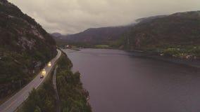 Vue aérienne d'un Jorpeland, Norvège banque de vidéos
