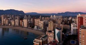 Vue aérienne d'un littoral de ville de Benidorm Blanca de côte, Espagne Photographie stock