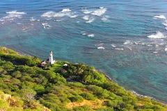 Vue aérienne d'un phare protégeant la côte dans Oahu photo libre de droits