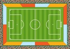 Vue aérienne d'un terrain de football dessiné avec la ligne blanche sur un fond vert avec les espaces pour faire de la publicité  Photos stock