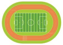 Vue aérienne d'un terrain de football dessiné avec la ligne blanche sur un fond vert avec une voie courante autour du terrain de  Photographie stock