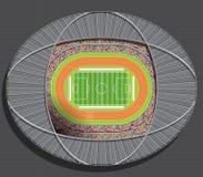 Vue aérienne d'un terrain de football dessiné avec la ligne blanche sur le fond vert avec les espaces pour la publicité et une vo Photographie stock libre de droits