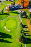 Vue aérienne d'un terrain de golf dans Stowe, Vermont images stock