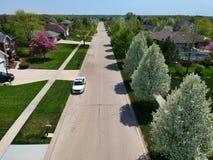 Vue aérienne d'un voisinage dans le pays Photographie stock