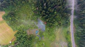 Vue aérienne d'une forêt avec le lac images stock