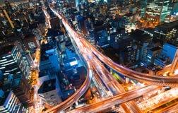 Vue aérienne d'une intersection de route à Osaka, Japon Images libres de droits