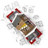 Vue aérienne d'une maison roofless sur le bluep d'architecte illustration de vecteur