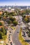 Vue aérienne d'une petite partie de voisinage de Rahova Boulevard de Tudor Vladimirescu Image stock