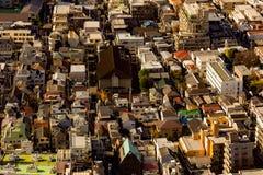 Vue aérienne de bâtiment du centre de résidence de Tokyo images libres de droits