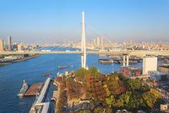 Vue aérienne de baie d'Osaka de roue de ferris de Tempozan Photo libre de droits