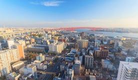 Vue aérienne de baie d'Osaka de roue de ferris de Tempozan Images libres de droits