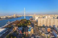 Vue aérienne de baie d'Osaka de roue de ferris de Tempozan Image libre de droits