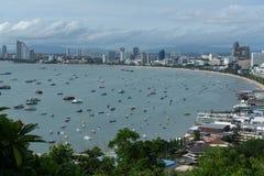 Vue aérienne de baie de ville de Pattaya, Thaïlande Photographie stock libre de droits