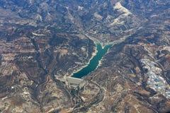 Vue aérienne de barrage de Kouris en Chypre Images stock