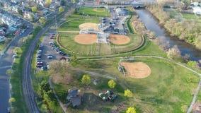 Vue aérienne de base-ball récréationnel de champs clips vidéos