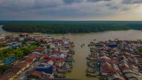 Vue aérienne de beau paysage du village de pêcheurs en Kuala Spetang Malaysia image libre de droits