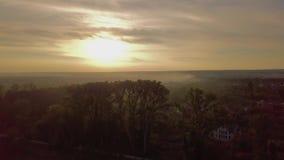 Vue aérienne de beau paysage de mouche de lac et de ville au-dessus des arbres au coucher du soleil clips vidéos