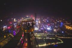 Vue aérienne de belle nuit grande-angulaire de secteur financier de ville nouvelle de Guangzhou Zhujiang, Guangdong, Chine avec l Photographie stock