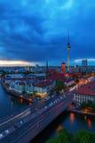 Vue aérienne de Berlin, Allemagne, avec la tour de télévision et la rivière de fête Images libres de droits