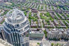 Vue aérienne de Boston central Images libres de droits