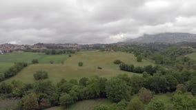 Vue aérienne de bourdon au-dessus des collines et des forêts et de grands prés verts banque de vidéos
