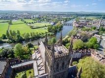 Vue aérienne de bourdon de cathédrale de Worcester image libre de droits