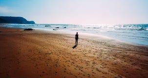 Vue aérienne de bourdon de la femme folâtre en bonne santé courant sur la plage Photographie stock libre de droits