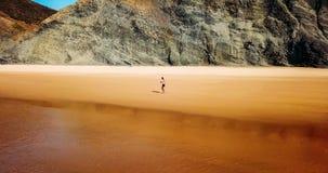 Vue aérienne de bourdon de la femme folâtre en bonne santé courant sur la plage Image stock