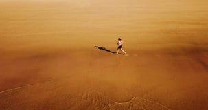 Vue aérienne de bourdon de la femme folâtre en bonne santé courant sur la plage Photos stock